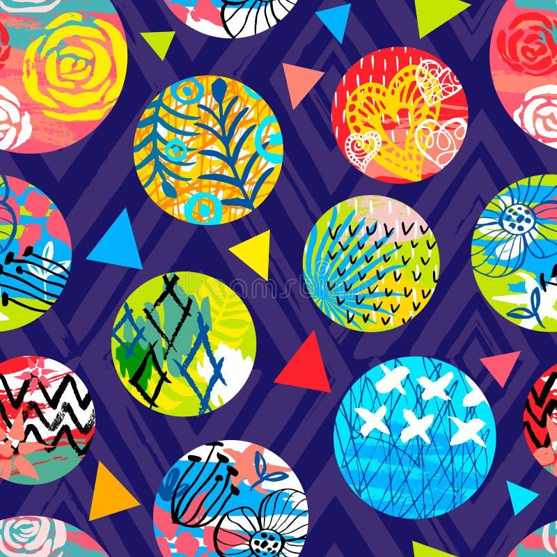 Modèle sans couture tropical de batik africain Decorat abstrait d'été illustration de vecteur