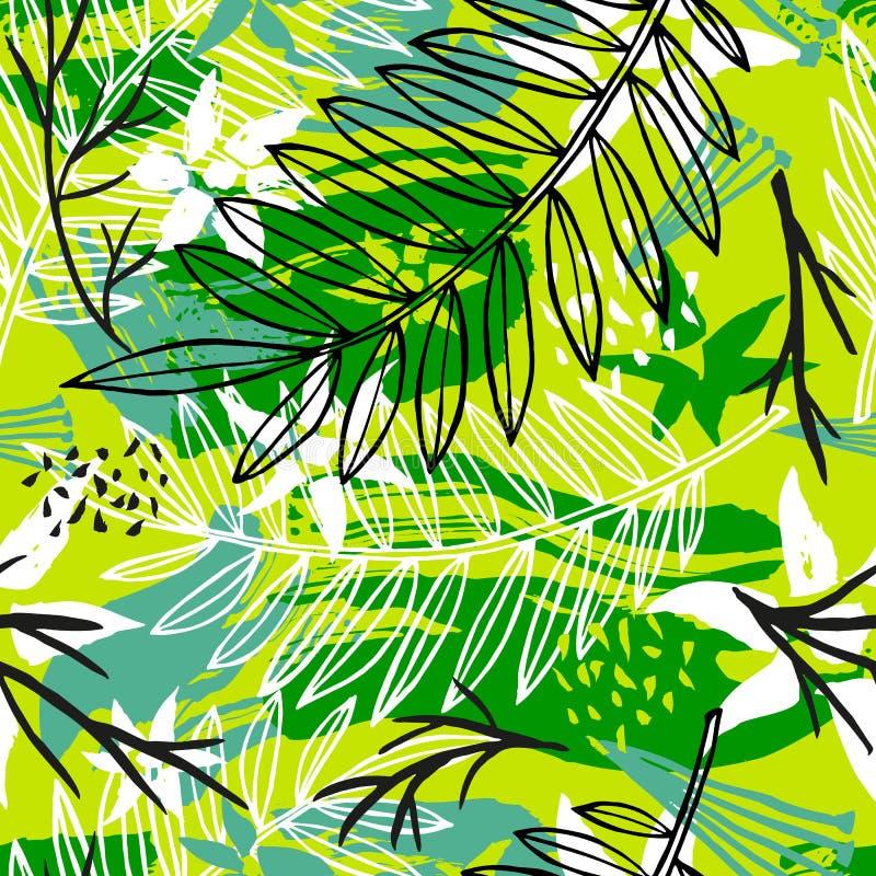 Modèle sans couture tropical de batik exotique ethnique Coroful abstrait illustration de vecteur