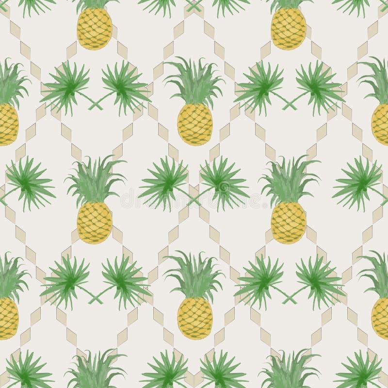 Modèle sans couture tropical exotique avec les branches et le pineappl de paume illustration libre de droits