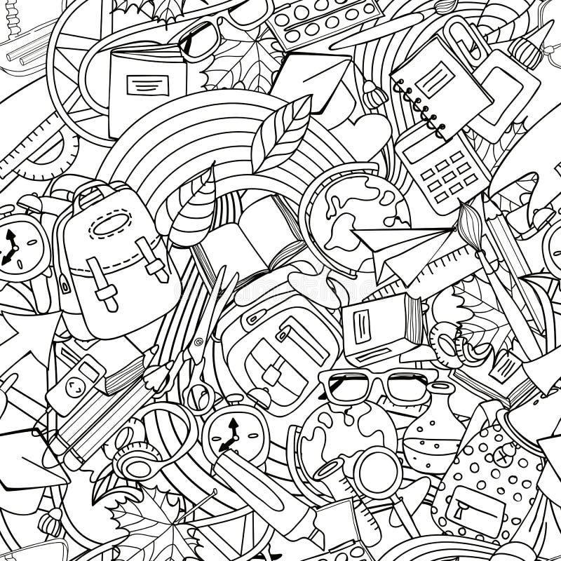 Modèle sans couture vecteur d'école de schéma Éducation et fournitures scolaires monochromes de griffonnage illustration stock