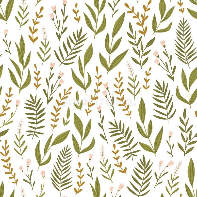 Modèle sans couture vert clair avec des herbes et des fleurs Fond floral de literie Conception de tissu Illustration de vecteur illustration de vecteur