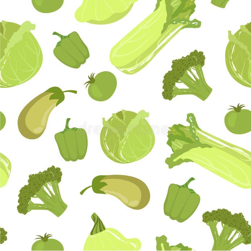 Modèle sans couture vert de légumes frais de ferme, illustration saine de vecteur de nourriture illustration stock