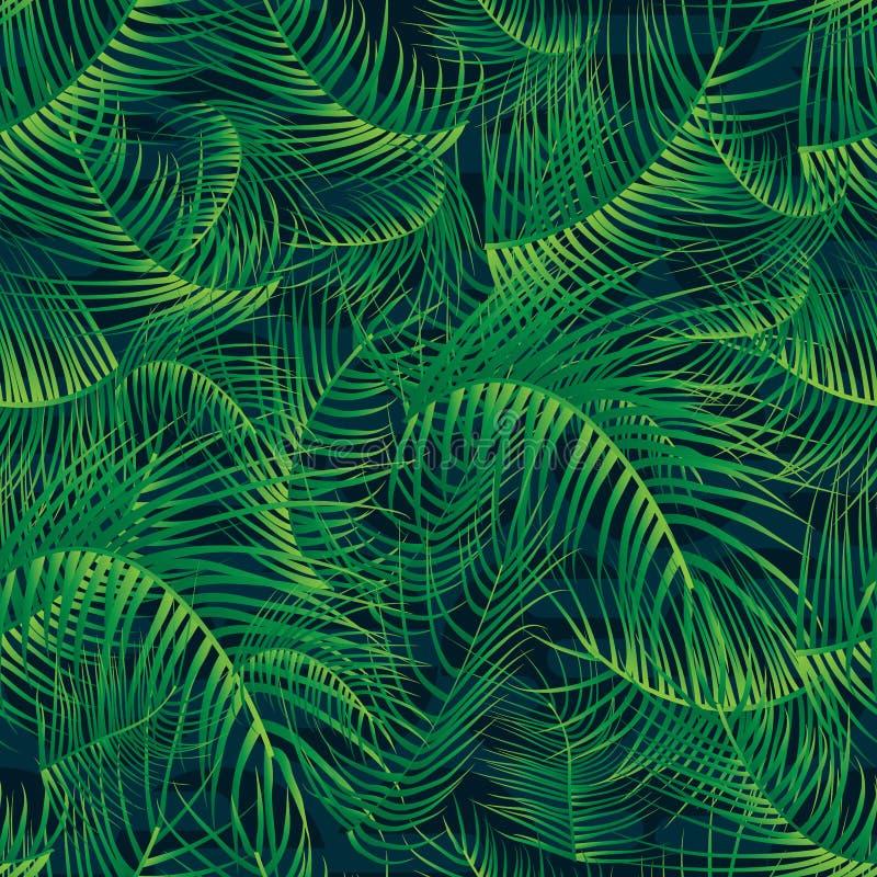 Modèle sans couture vert en feuille de palmier de feuillet plein illustration de vecteur