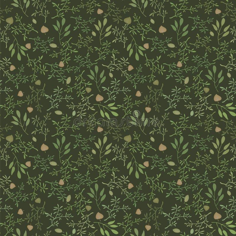 Modèle sans couture vert-foncé de vecteur avec des branches et des feuilles de fond floral naturel brun et orange illustration libre de droits