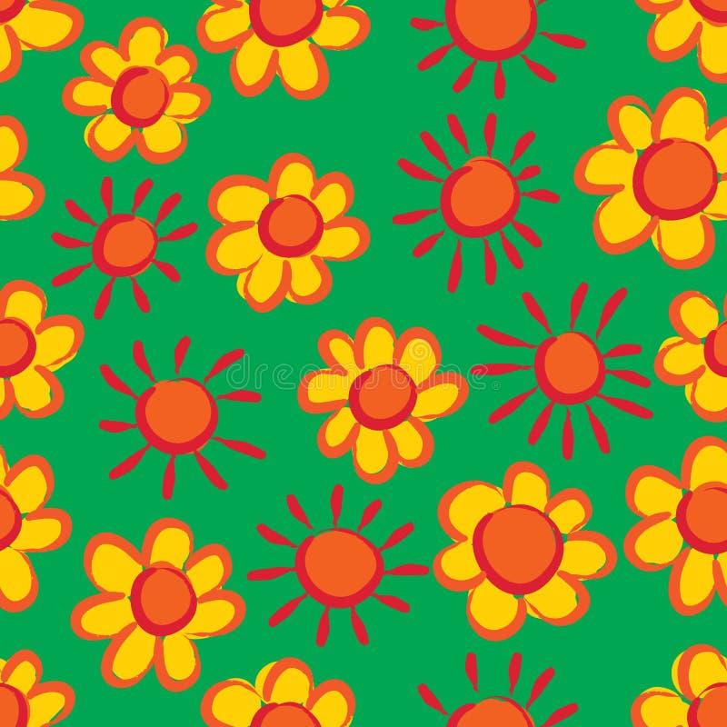 Modèle sans couture vert jaune orange d'encre du soleil chinois de fleur illustration de vecteur