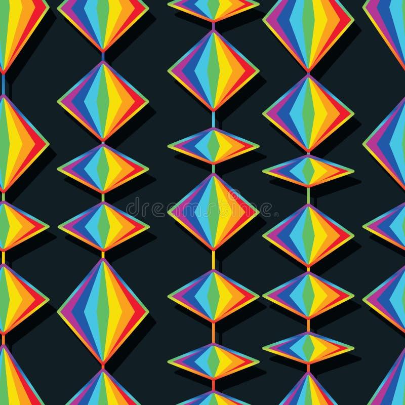 Modèle sans couture vertical de forme de diamant d'arc-en-ciel illustration libre de droits