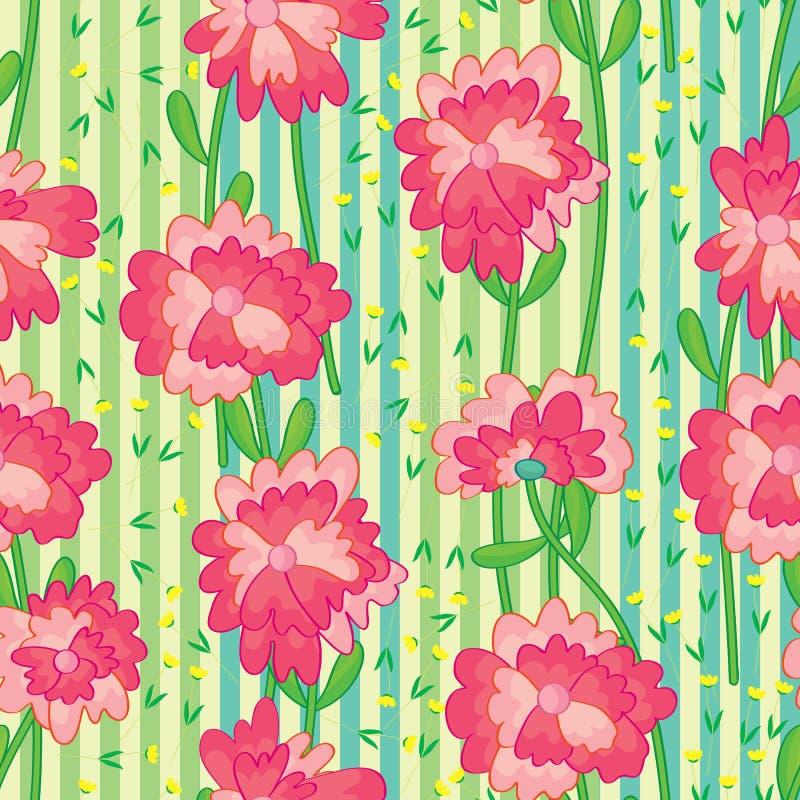 Modèle sans couture vertical de groupe de fleur illustration stock