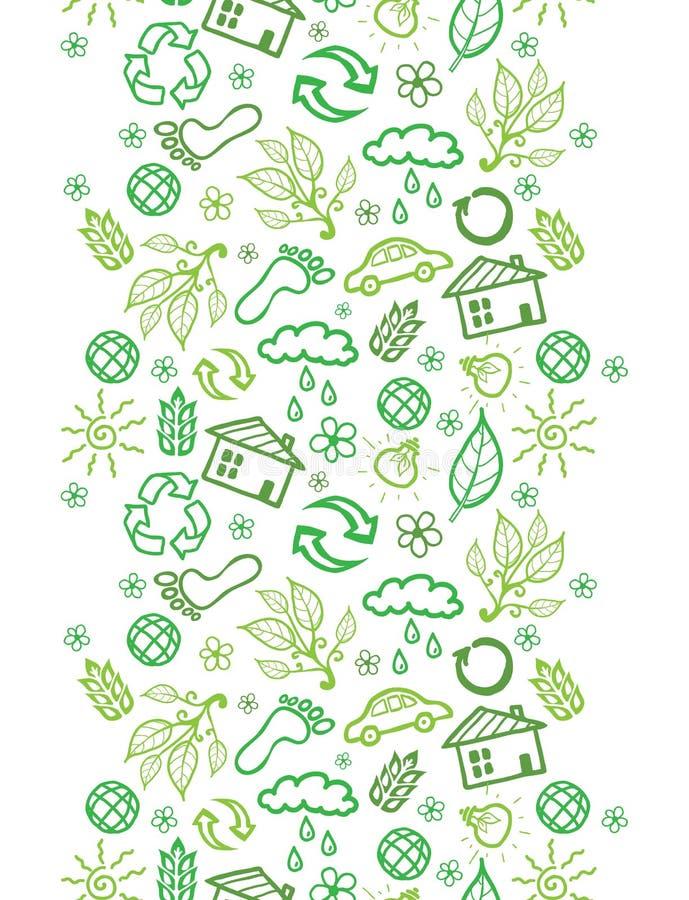 Modèle sans couture vertical de symboles d'écologie illustration de vecteur