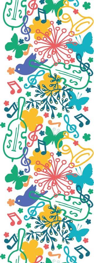 Modèle sans couture vertical de symphonie de musique de ressort illustration stock