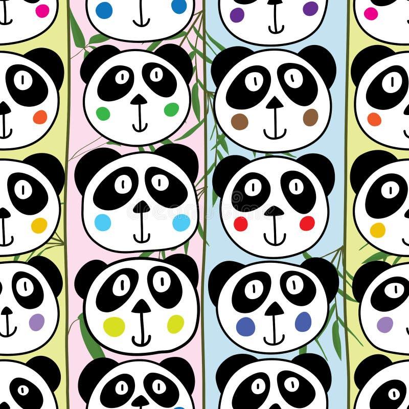 Modèle sans couture vertical principal de panda illustration de vecteur