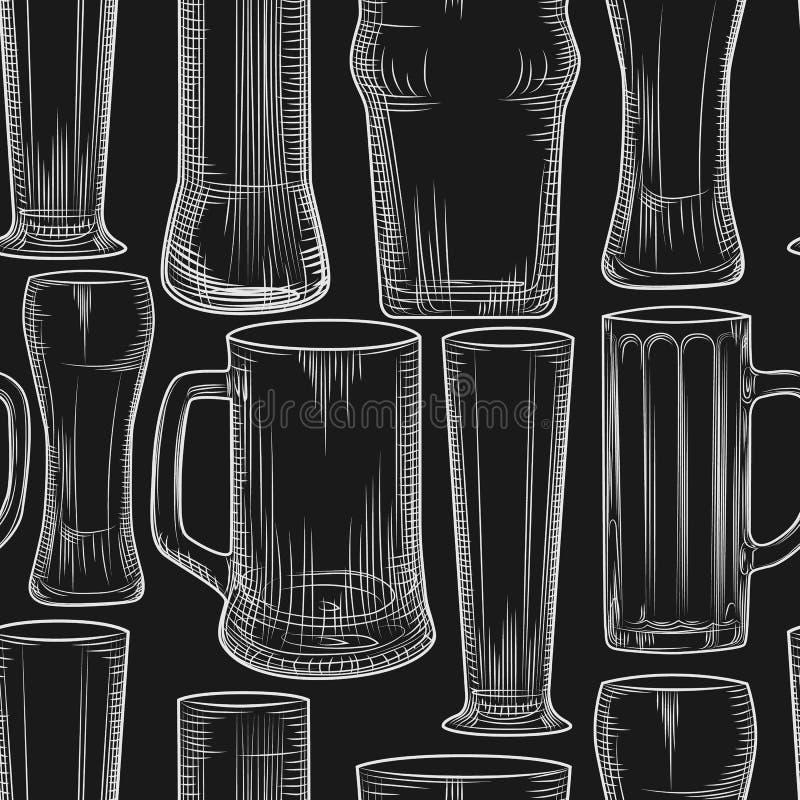 Modèle sans couture vide de tasse de bière sur le tableau noir illustration libre de droits