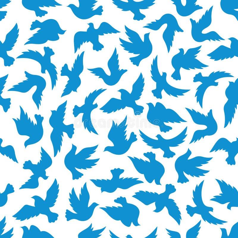 Modèle sans couture volant d'oiseaux de colombe illustration stock