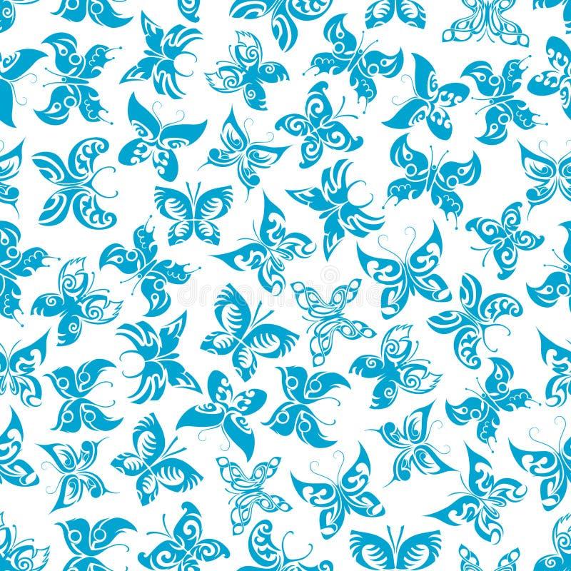Modèle sans couture volant de papillons bleus illustration de vecteur