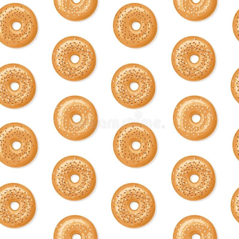 Modèle sans couture, vue supérieure des bagels frais avec les graines de sésame blanches et brunes, fond blanc Illustration de ve illustration de vecteur