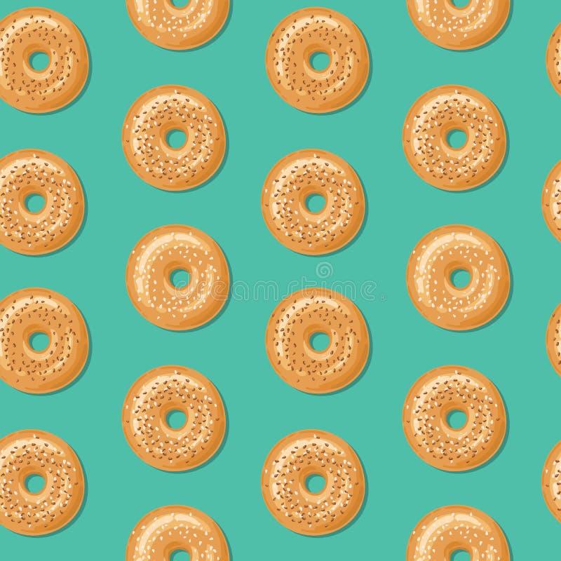 Modèle sans couture, vue supérieure des bagels frais avec les graines de sésame blanches et brunes Illustration de vecteur illustration stock
