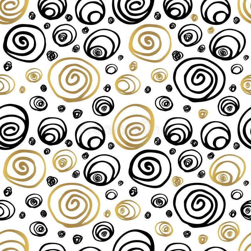 Modèle sans couture Whitw noir d'or tiré par la main illustration de vecteur