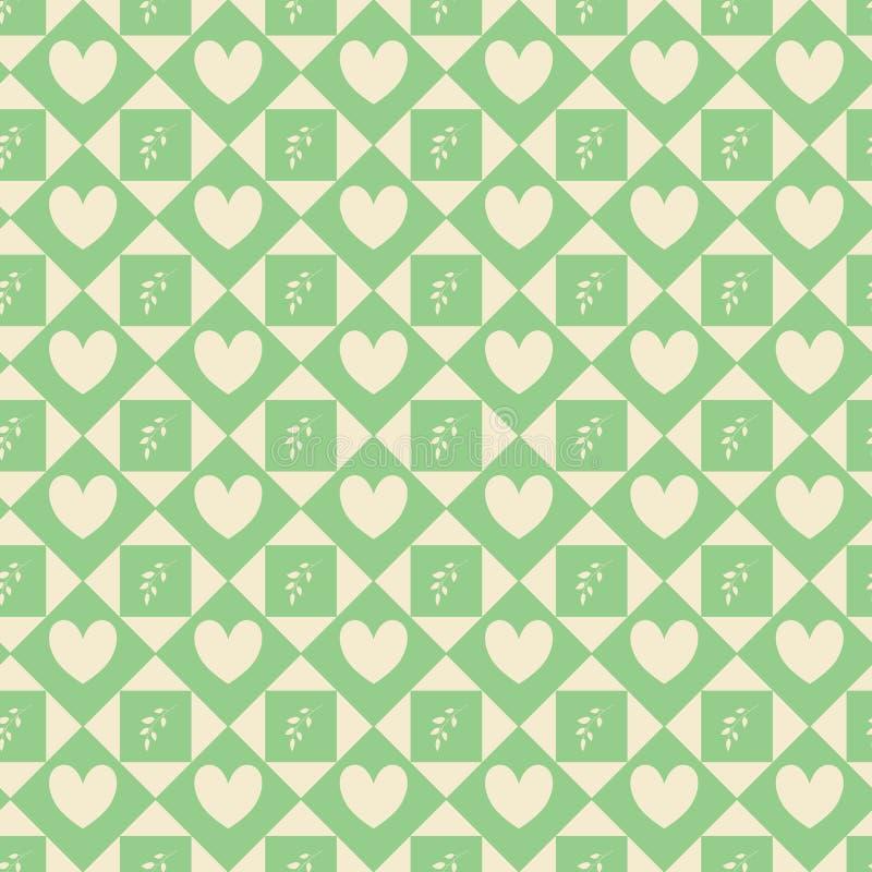 Modèle sans fin avec la conception géométrique Composition sans couture avec l'addition florale et de coeurs illustration stock
