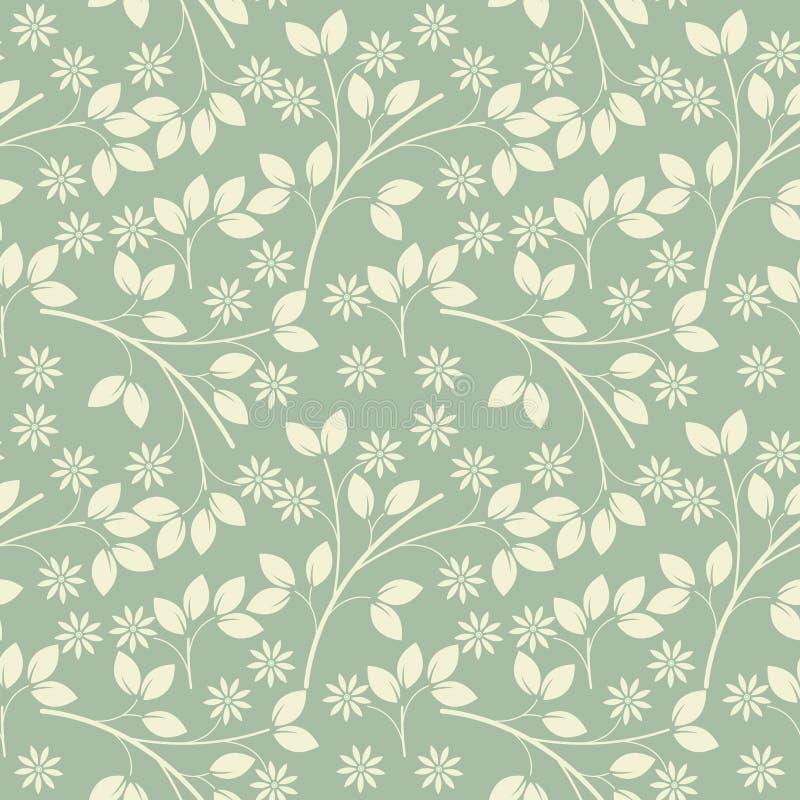 Modèle sans fin avec les fleurs et les feuilles enes ivoire sur le fre vert clair illustration de vecteur