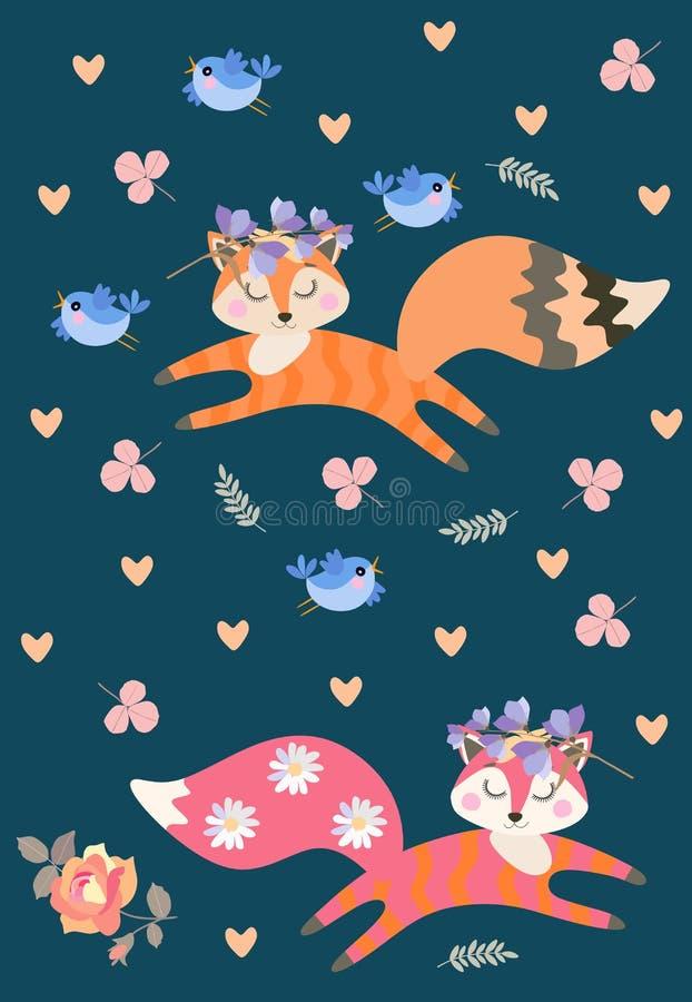Mod?le sans fin avec les renards r?veurs mignons jouant parmi des fleurs et des feuilles Peu oiseaux bleus dr?les Illustration de illustration de vecteur