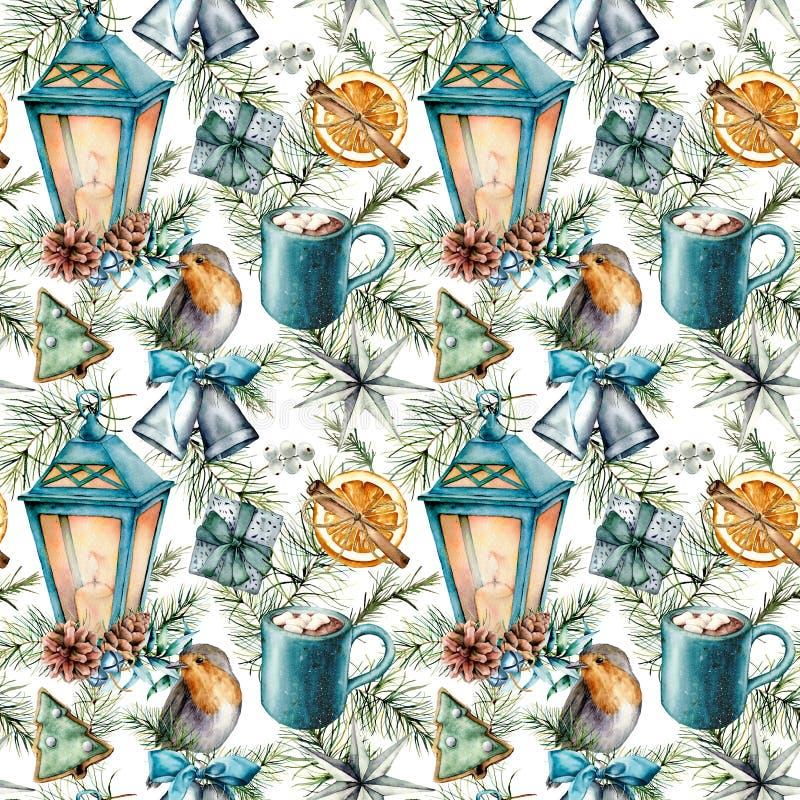 Modèle scandinave de Noël d'aquarelle Lanterne peinte à la main, cloches, merle, biscuits, tranche orange, tasse de cacao illustration de vecteur