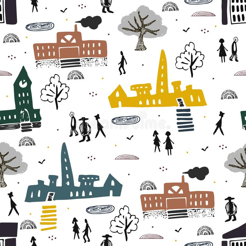 Modèle scandinave de style avec la ville et les gens dans elle Bâtiments et architecture déplacement Horizontal de ville illustration de vecteur