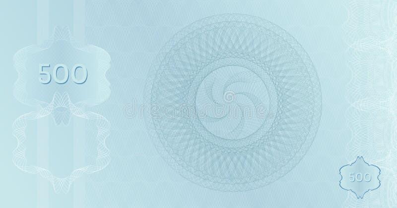 Modèle Silver Banknote 500 avec filigranes guilloches et bordure. Billet de fond en platine bleu clair, bon cadeau, photographie stock