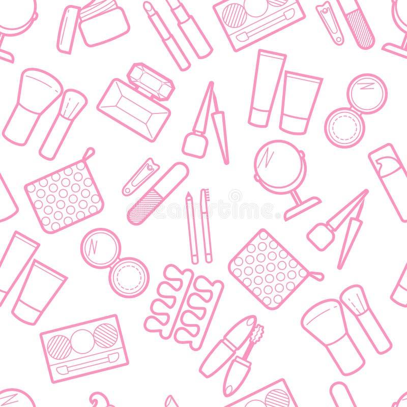 Modèle simless cosmétique Mascara, rouge à lèvres, poudre, fard à paupières, parfum, crème, base, revêtement d'oeil, miroir, peig illustration de vecteur