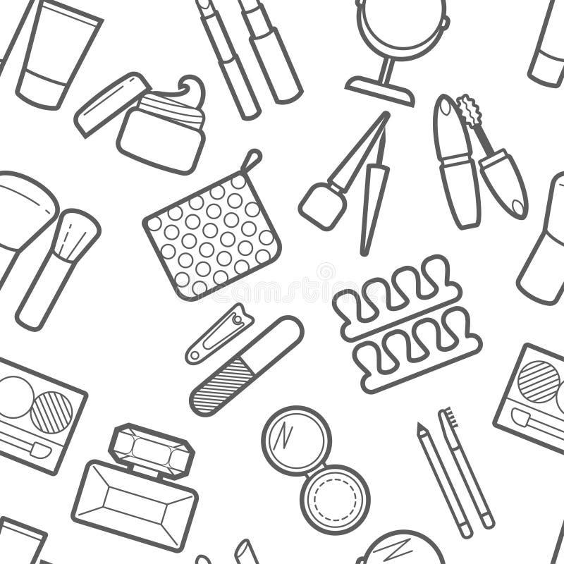 Modèle simless cosmétique Mascara, rouge à lèvres, poudre, fard à paupières, parfum, crème, base, revêtement d'oeil, miroir, peig illustration libre de droits