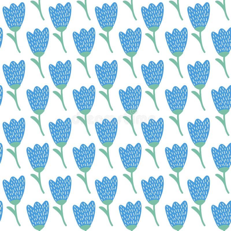 Modèle simple de tulipe bleue de griffonnage Fond sans joint de fleur mignonne Papier peint d'été illustration stock