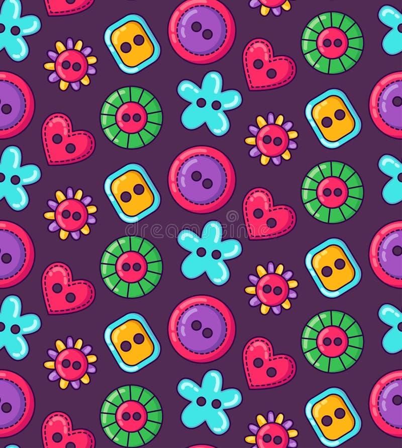 Modèle simple sans couture de couture coloré de vecteur de boutons illustration de vecteur