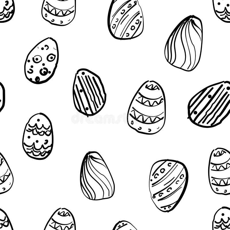 Modèle simple sans couture de vecteur avec les oeufs ornementaux Fond noir et blanc de vacances de Pâques pour imprimer sur le ti illustration libre de droits