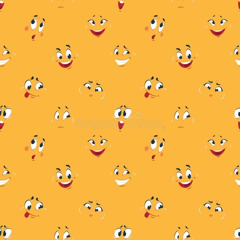 Modèle souriant de bande dessinée Les bandes dessinées comiques d'expressions de visages de sourire d'amusement mignon heureux fo illustration libre de droits