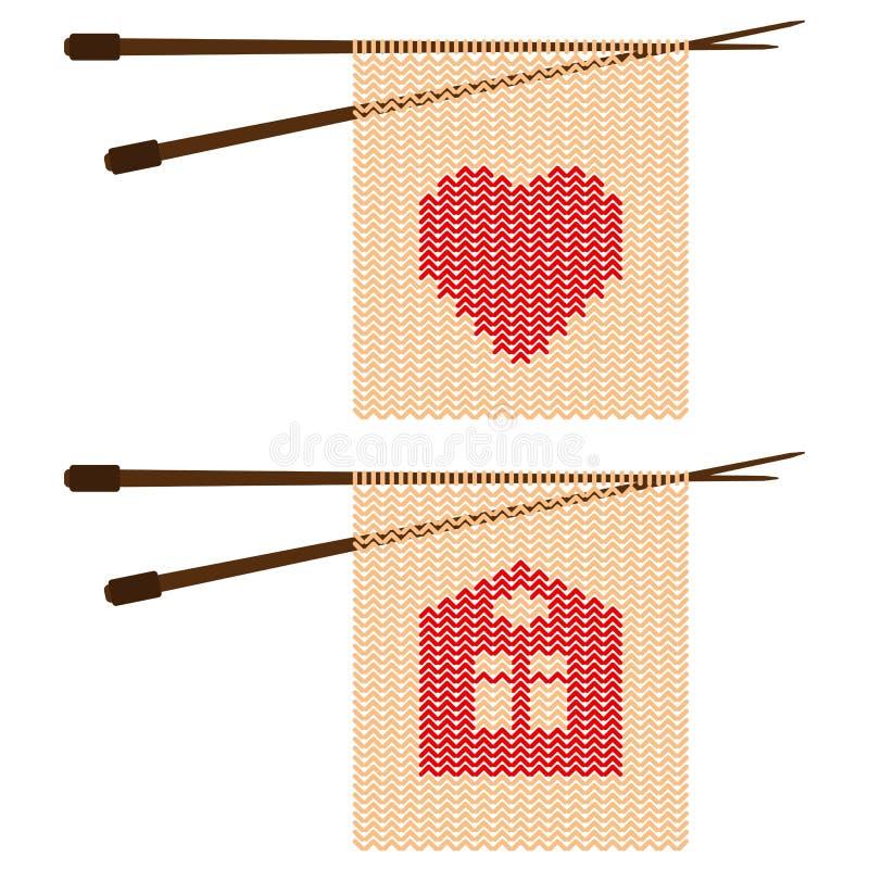 Modèle sous forme de coeurs et d'illustration à la maison de vecteur d'aiguilles de tricotage illustration de vecteur