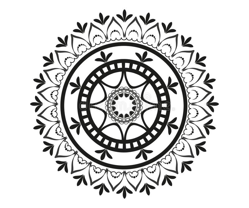 Modèle sous la forme de mandala pour le henné illustration de vecteur