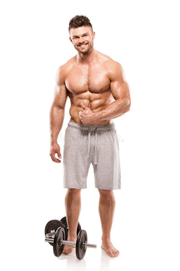 Modèle sportif fort Torso de forme physique d'homme montrant de grands muscles images libres de droits