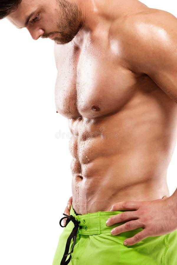 Modèle sportif fort Torso de forme physique d'homme montrant le muscle abdominal photographie stock libre de droits