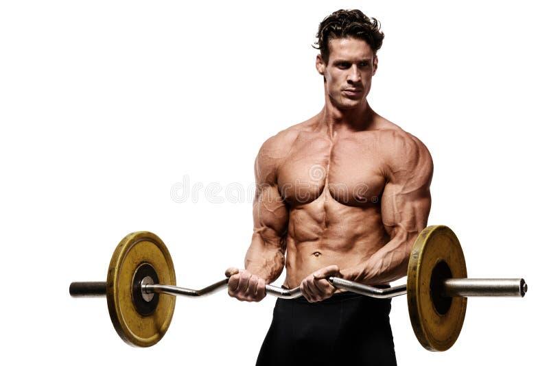 Modèle sportif fort Torso de forme physique d'homme montrant le muscle abdominal photos stock