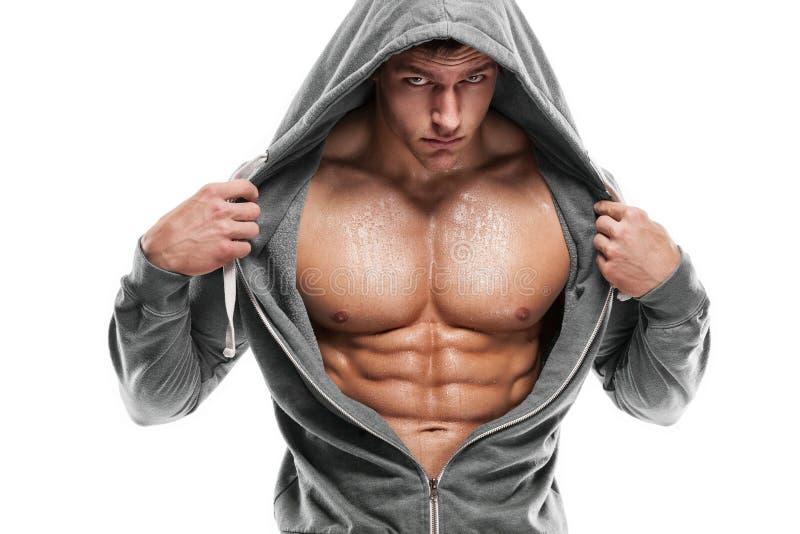 Modèle sportif fort Torso de forme physique d'homme montrant six ABS de paquet Est image stock