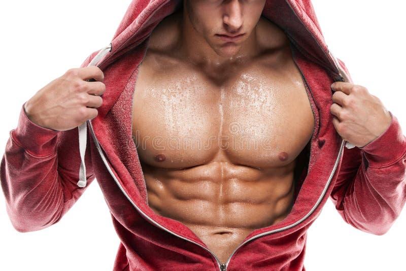 Modèle sportif fort Torso de forme physique d'homme montrant six ABS de paquet Est photos libres de droits
