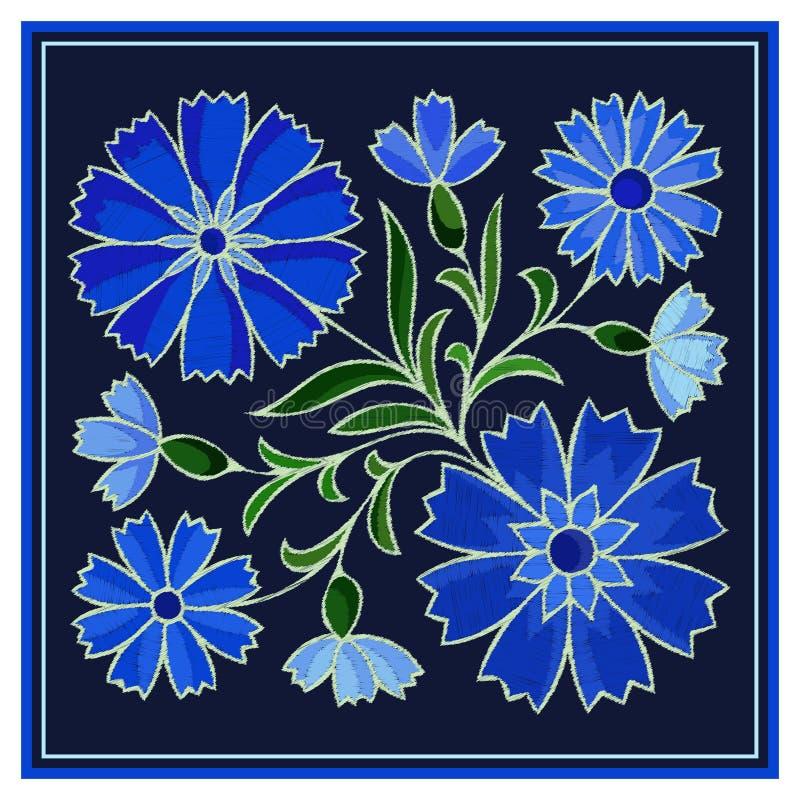 Modèle stylisé de bleuet de broderie sur le fond foncé illustration de vecteur