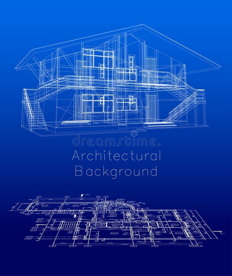 Modèle stylisé de maison avec le plan d'étage. Vecteur illustration stock