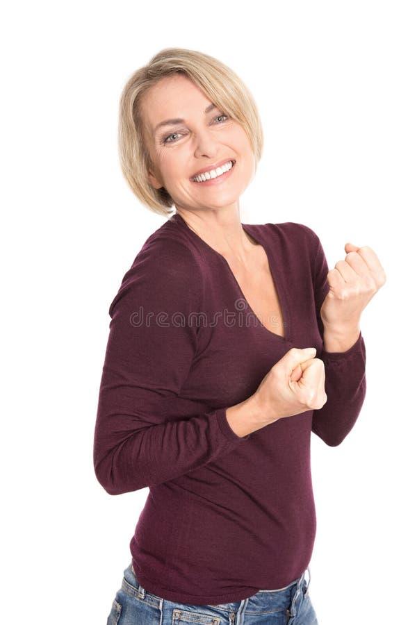 Modèle supérieur de sourire heureux d'isolement sur le blanc. photo libre de droits