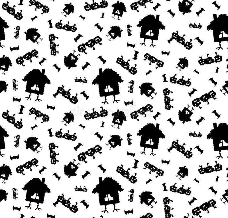 Modèle sur le thème de Halloween avec des potirons et une maison sur des jambes de poulet en noir et blanc illustration libre de droits