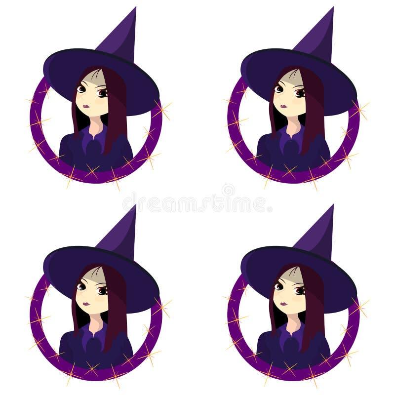 Modèle sur le thème de Halloween avec le garçon de sorcière illustration stock