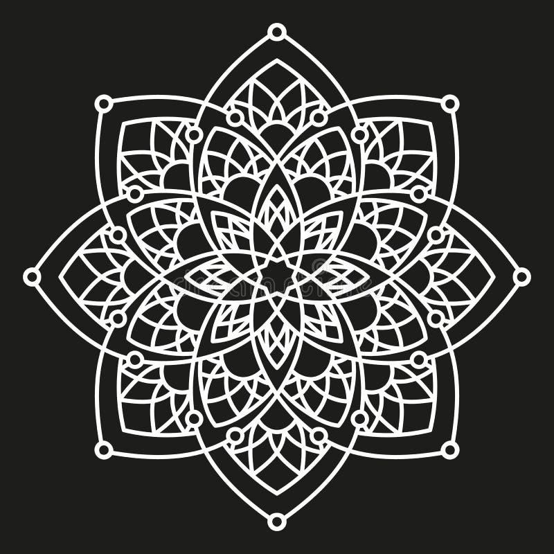Modèle symétrique de rond blanc sur le noir Conception d'arabesque illustration libre de droits