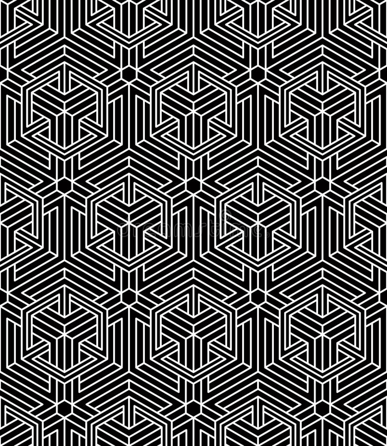 Modèle symétrique monochrome sans fin, conception graphique géométrique illustration libre de droits
