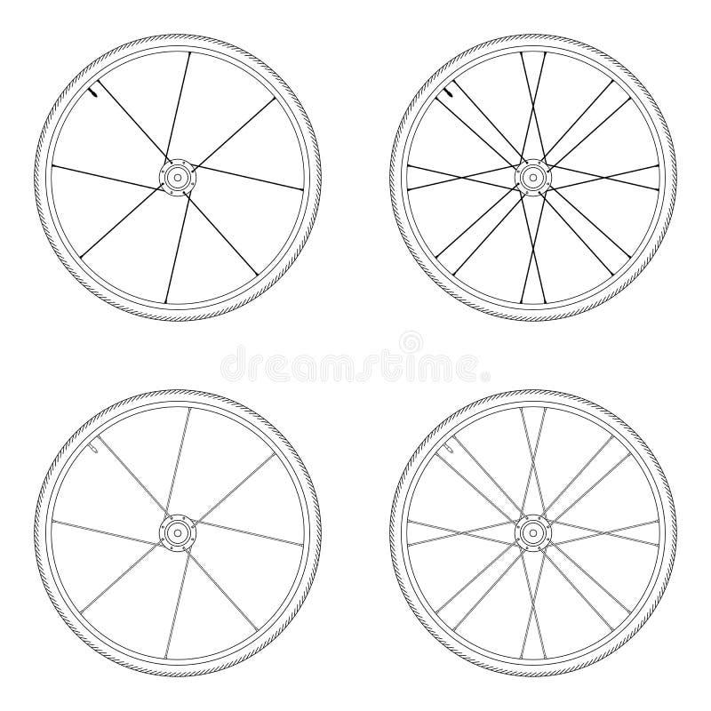 Modèle tangentiel de laçage de roue de rai de bicyclette illustration stock
