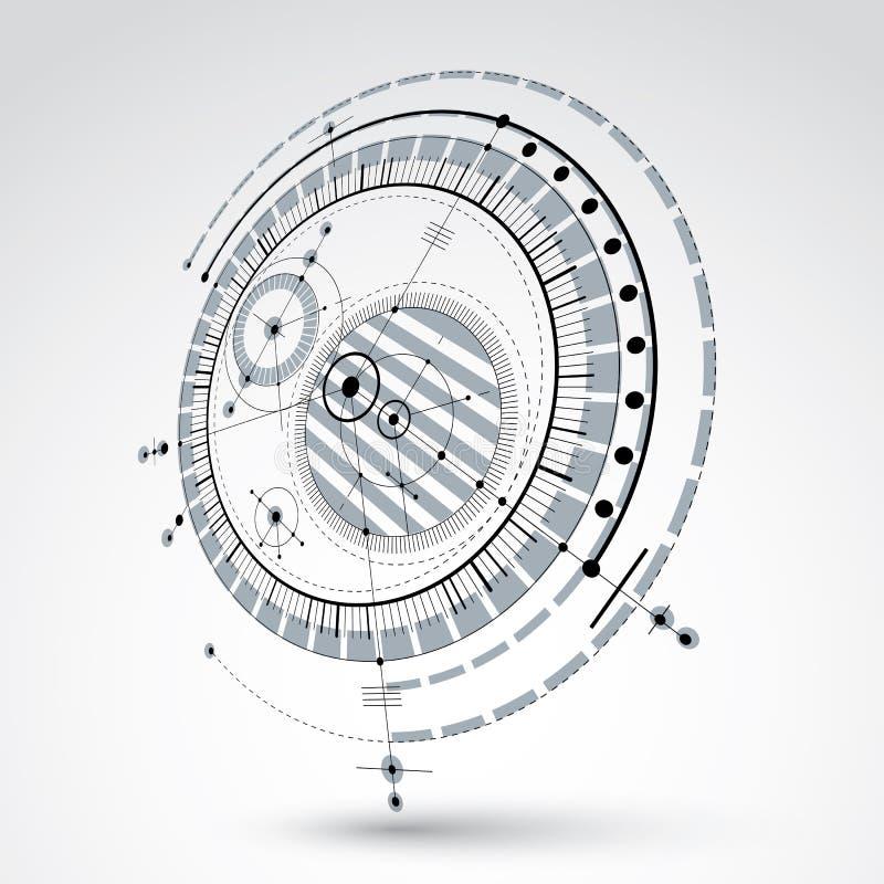 Modèle technique, fond numérique W de vecteur noir et blanc illustration stock