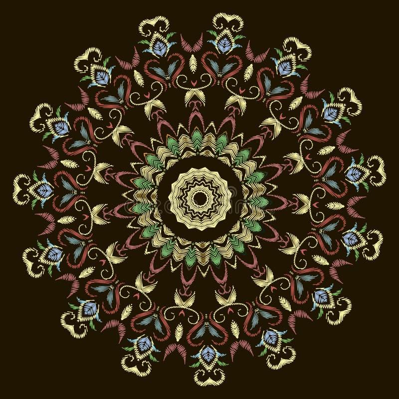 Modèle texturisé de mandala de dentelle colorée florale de broderie Fond grunge ornemental floral Fleurs de tapisserie de cercle, illustration de vecteur