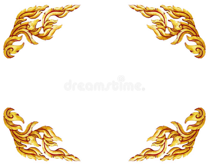 Modèle thaïlandais de style de vieilles d'or portes en bois antiques de cadre d'isolement illustration libre de droits